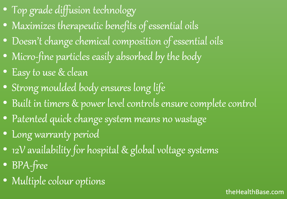 Key features of the Aroma-Ace diffuser