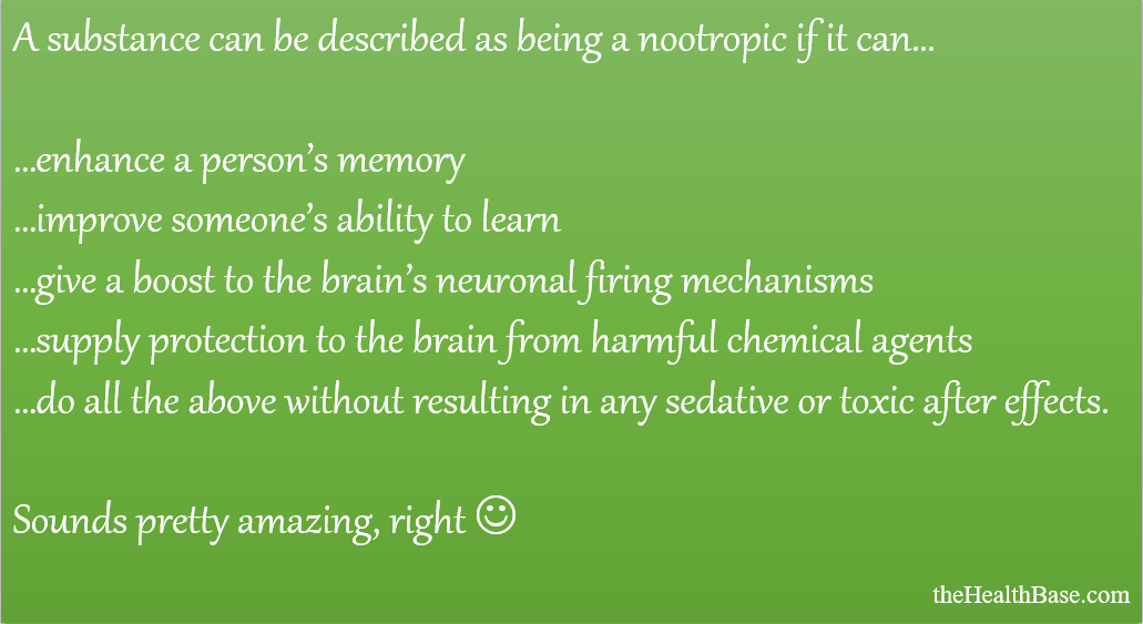 Characteristics of a nootropic