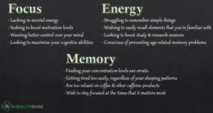 Energy, focus, memory